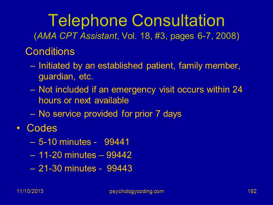 Telephone Consultation (AMA CPT Assistant, Vol