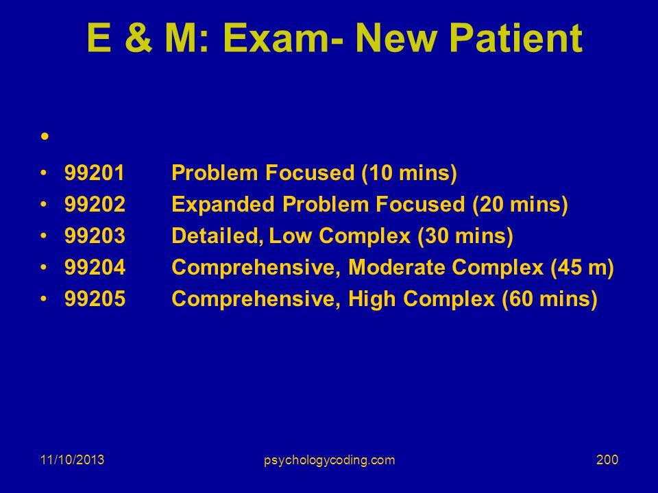 E & M: Exam- New Patient 99201 Problem Focused (10 mins)