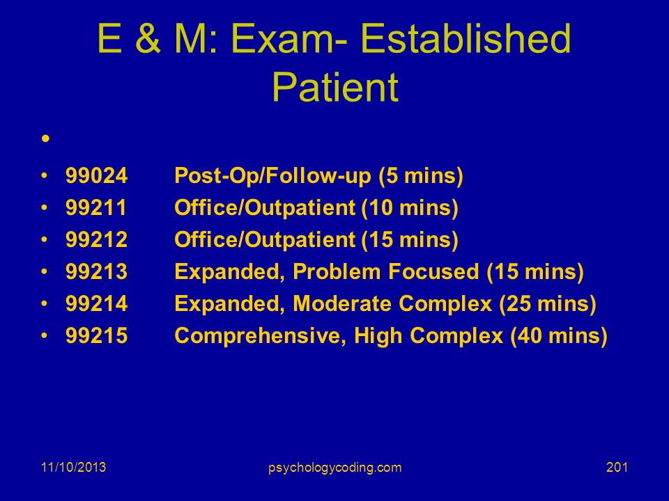 E & M: Exam- Established Patient