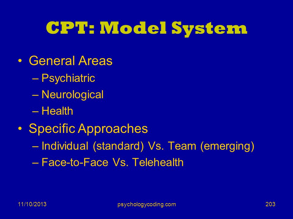 CPT: Model System General Areas Specific Approaches Psychiatric