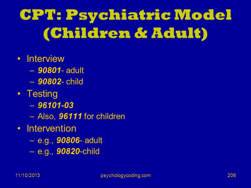 CPT: Psychiatric Model (Children & Adult)