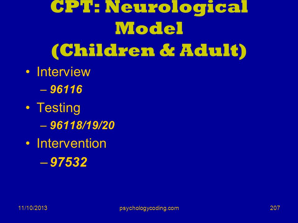 CPT: Neurological Model (Children & Adult)