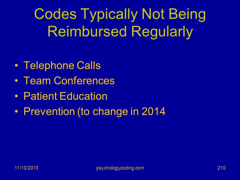 Codes Typically Not Being Reimbursed Regularly