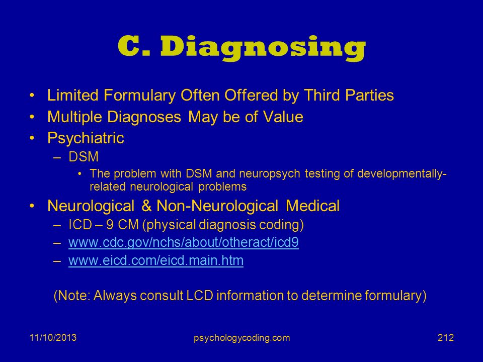 C. Diagnosing Limited Formulary Often Offered by Third Parties