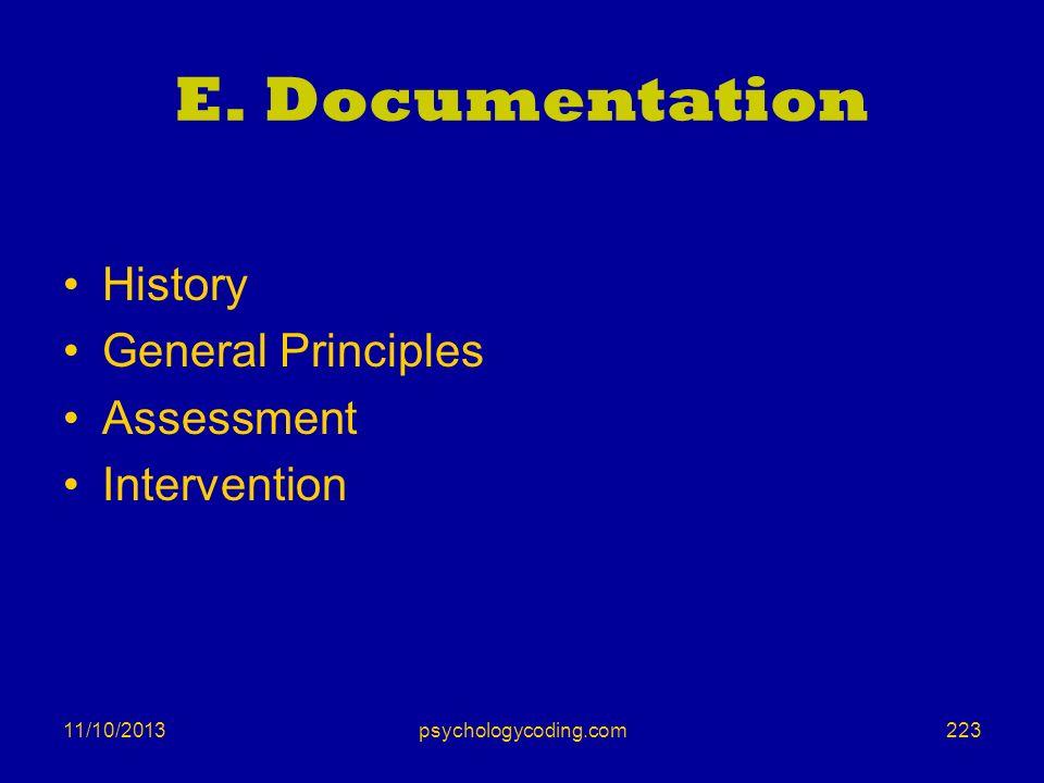 E. Documentation History General Principles Assessment Intervention