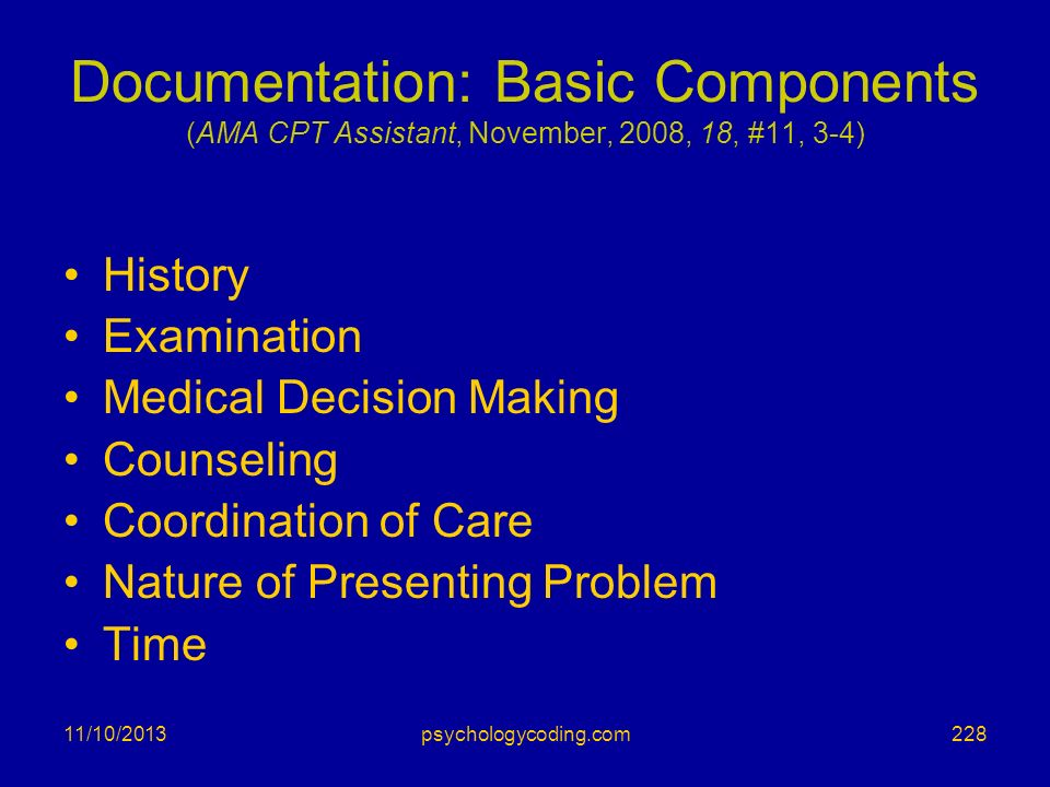 Documentation: Basic Components (AMA CPT Assistant, November, 2008, 18, #11, 3-4)
