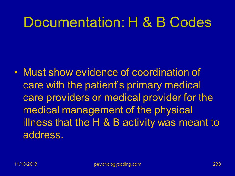 Documentation: H & B Codes