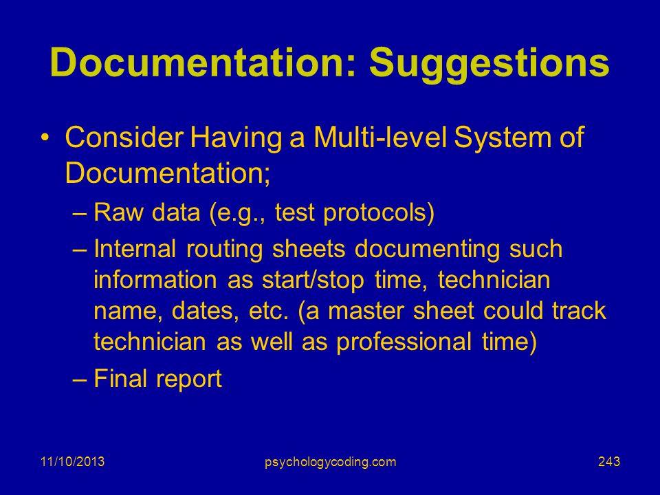 Documentation: Suggestions
