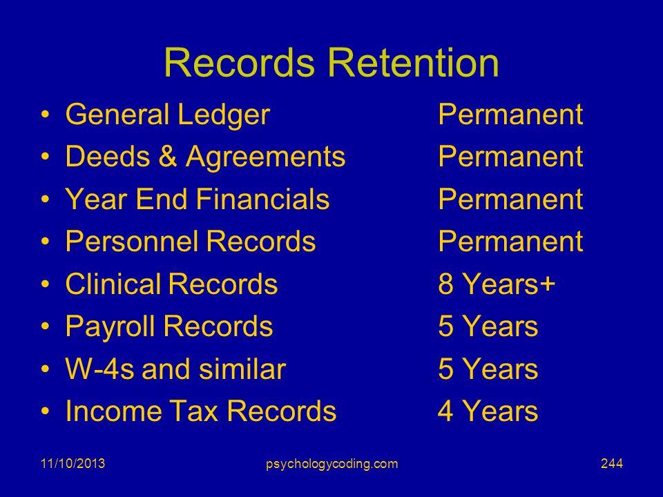 Records Retention General Ledger Permanent