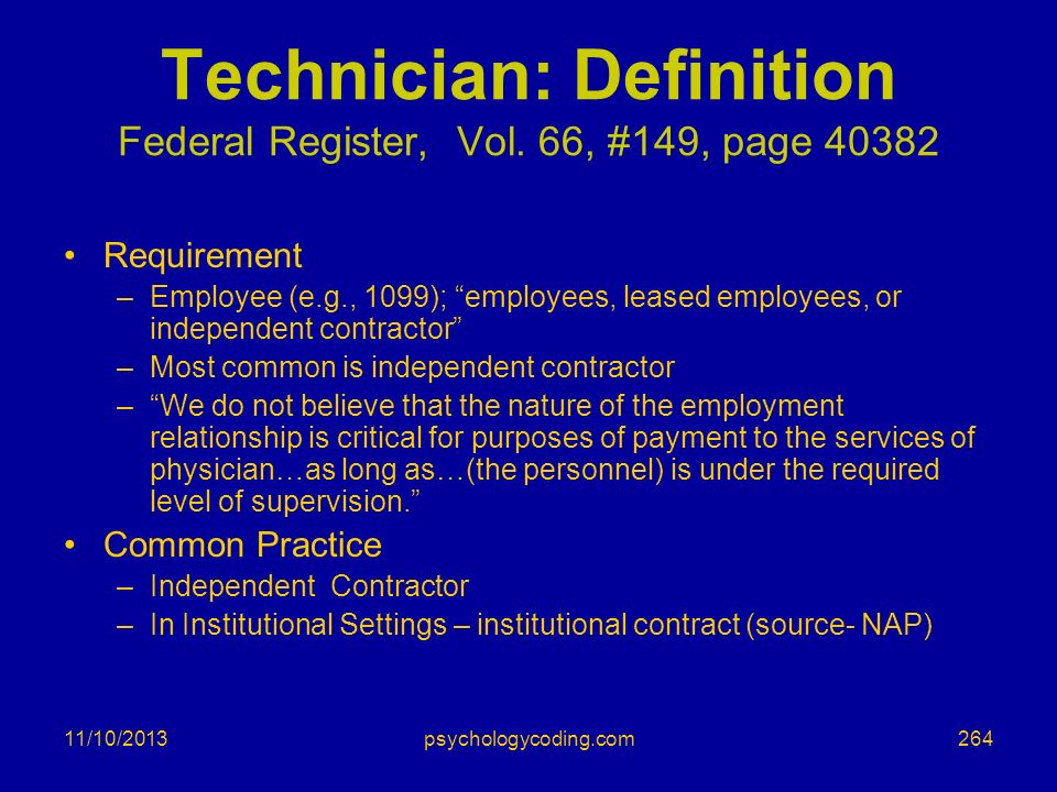 Technician: Definition Federal Register, Vol. 66, #149, page 40382