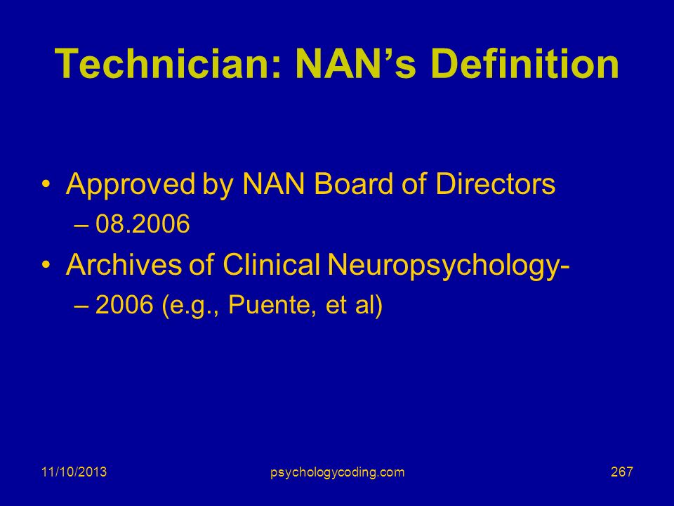 Technician: NAN's Definition