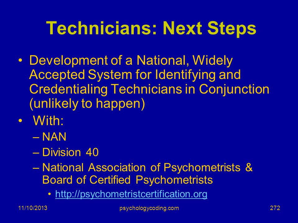Technicians: Next Steps
