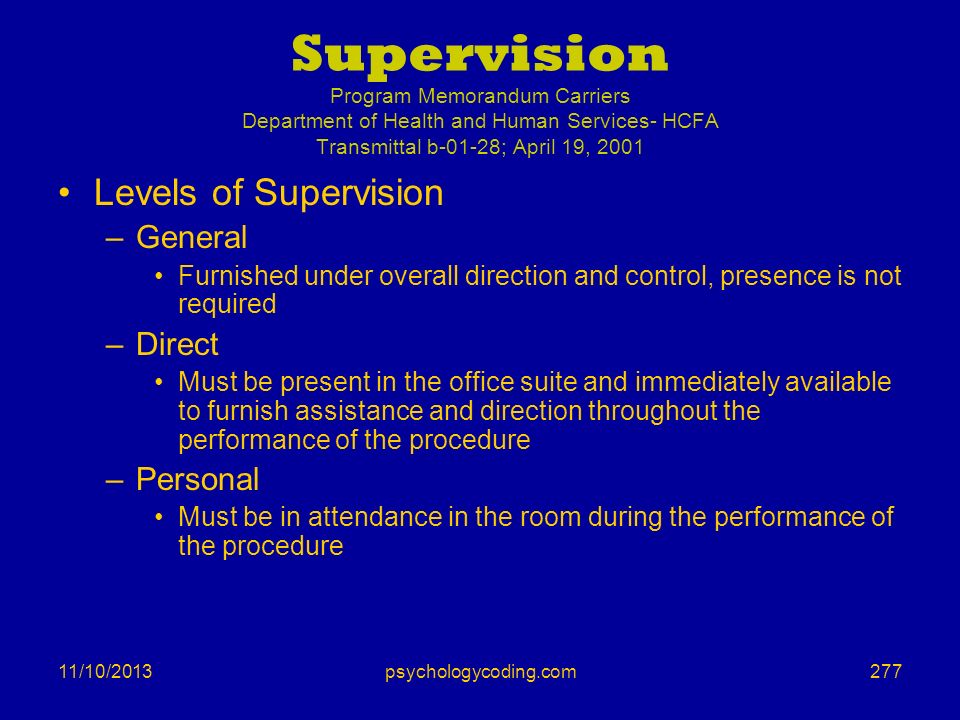 Supervision Program Memorandum Carriers Department of Health and Human Services- HCFA Transmittal b-01-28; April 19, 2001