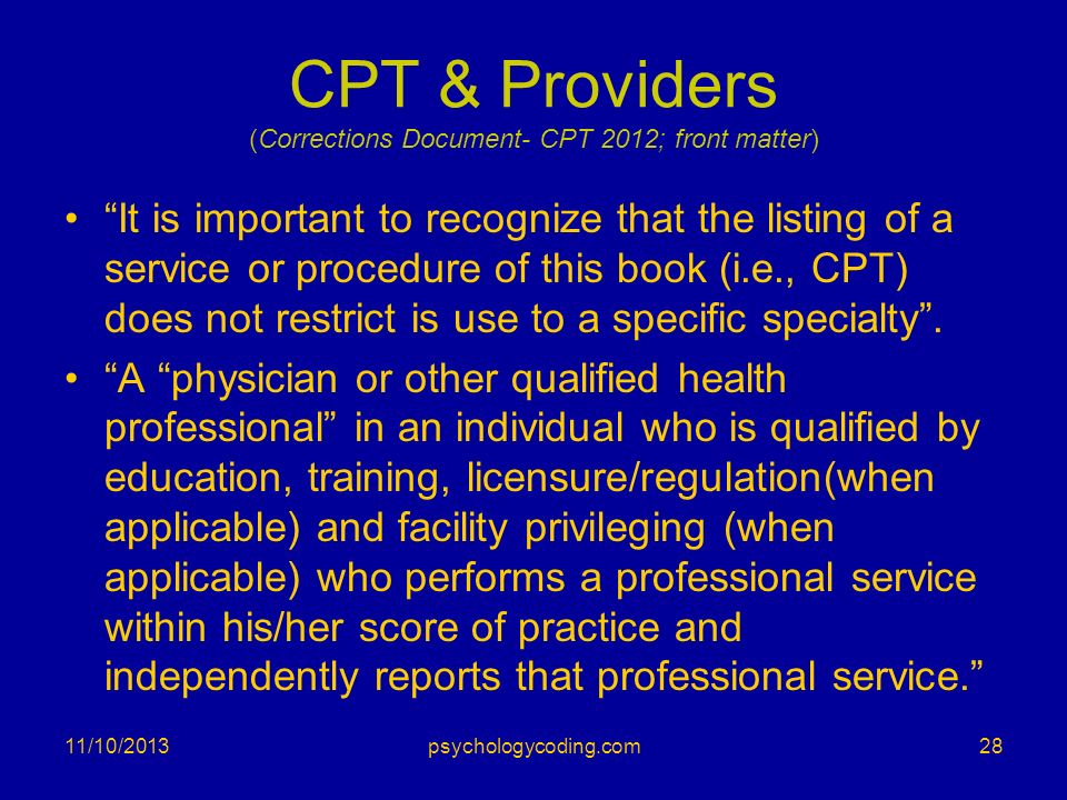 CPT & Providers (Corrections Document- CPT 2012; front matter)