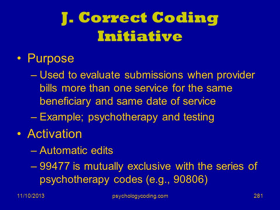 J. Correct Coding Initiative