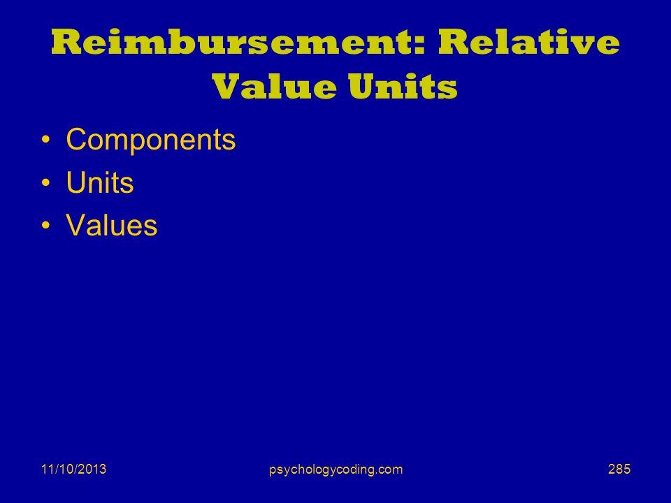Reimbursement: Relative Value Units