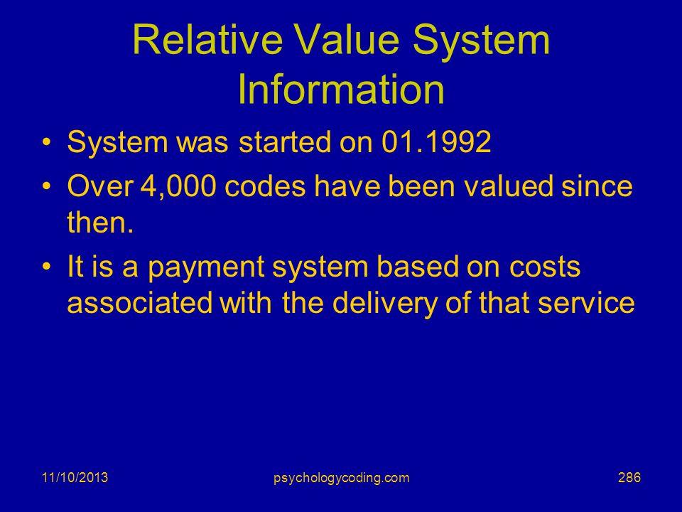 Relative Value System Information