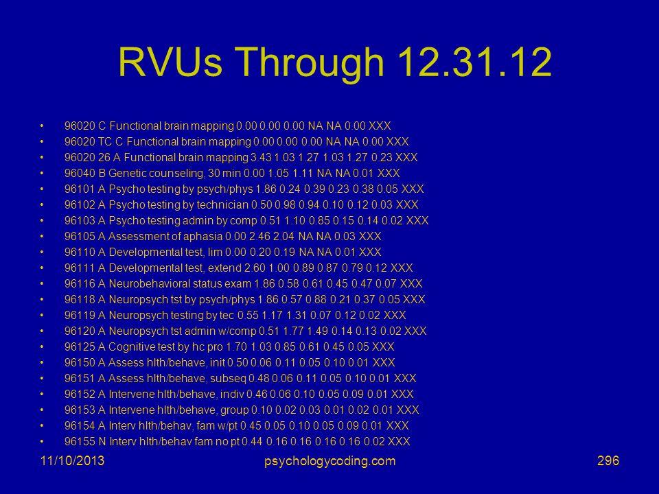 RVUs Through 12.31.12 3/25/2017 psychologycoding.com