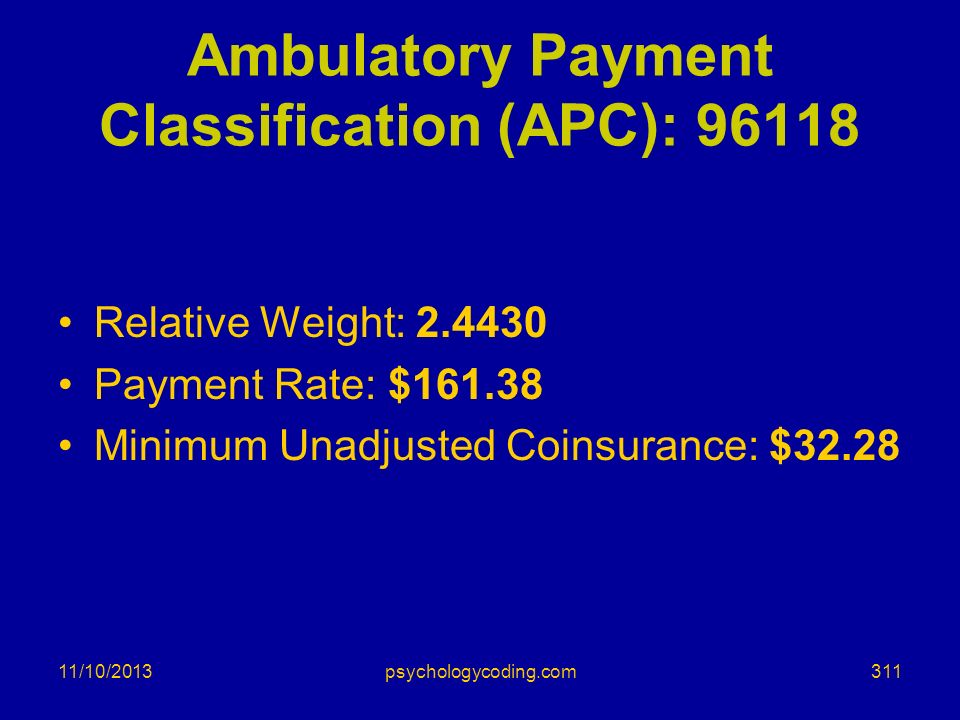 Ambulatory Payment Classification (APC): 96118