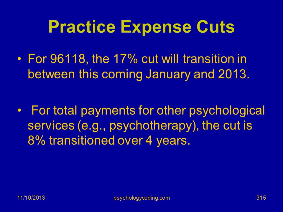 Practice Expense Cuts For 96118, the 17% cut will transition in between this coming January and 2013.