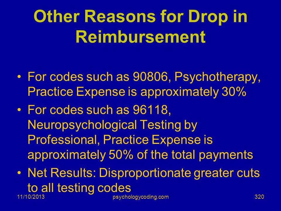Other Reasons for Drop in Reimbursement