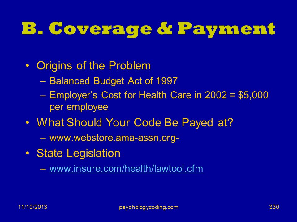 B. Coverage & Payment Origins of the Problem