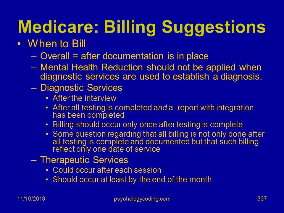 Medicare: Billing Suggestions