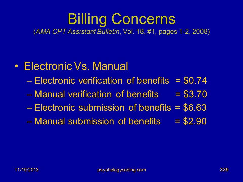 Billing Concerns (AMA CPT Assistant Bulletin, Vol