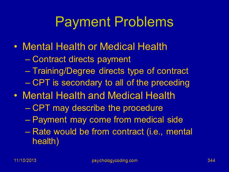 Payment Problems Mental Health or Medical Health