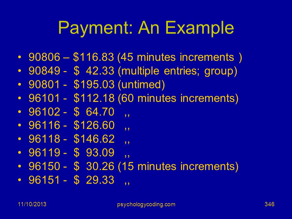 Payment: An Example – $ (45 minutes increments )