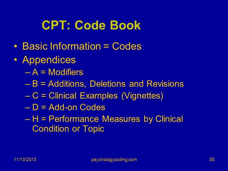 CPT: Code Book Basic Information = Codes Appendices A = Modifiers