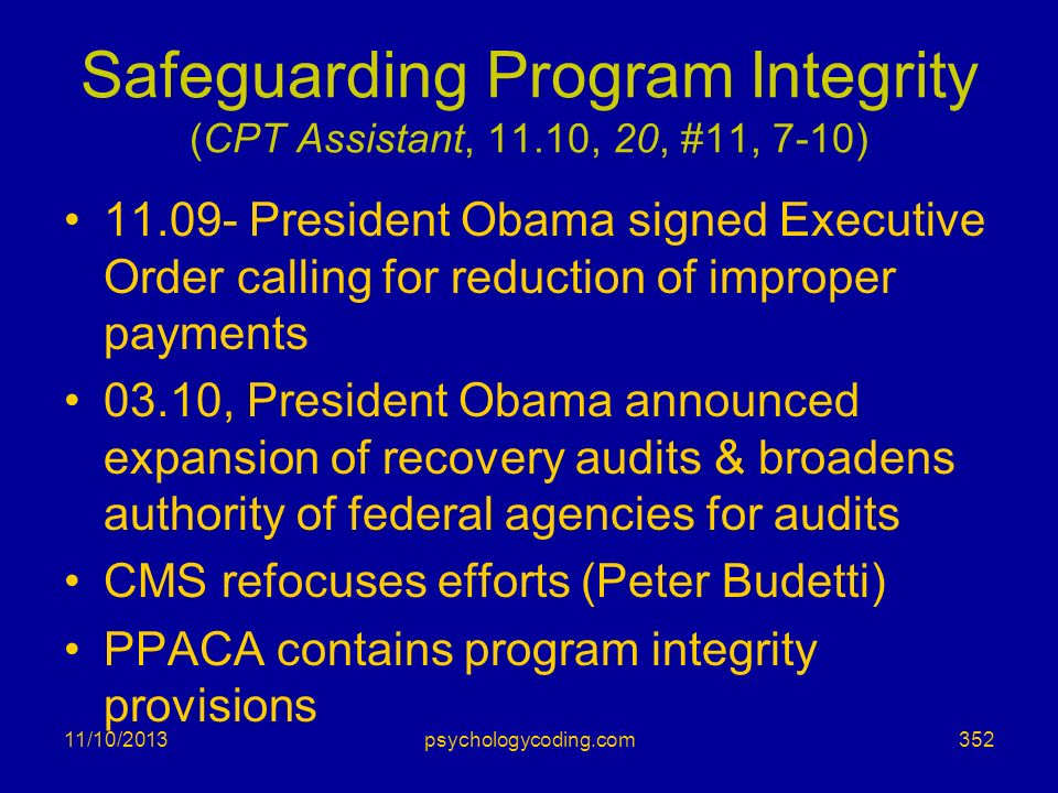 Safeguarding Program Integrity (CPT Assistant, 11.10, 20, #11, 7-10)