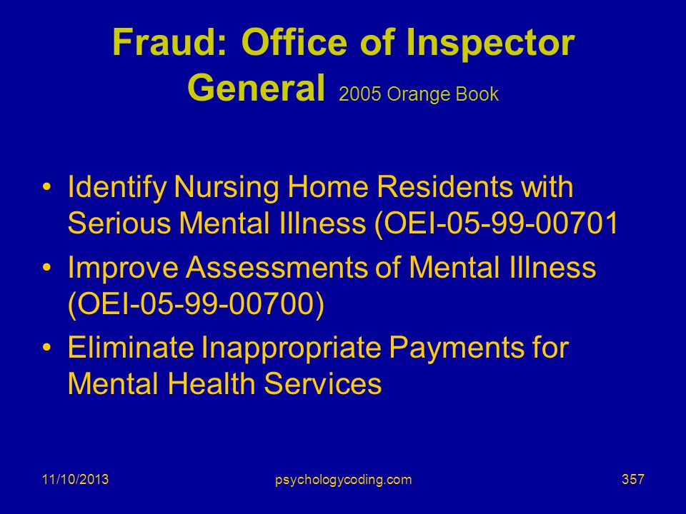 Fraud: Office of Inspector General 2005 Orange Book