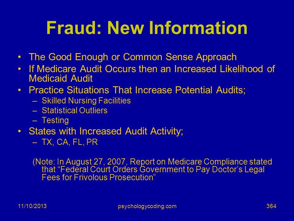 Fraud: New Information