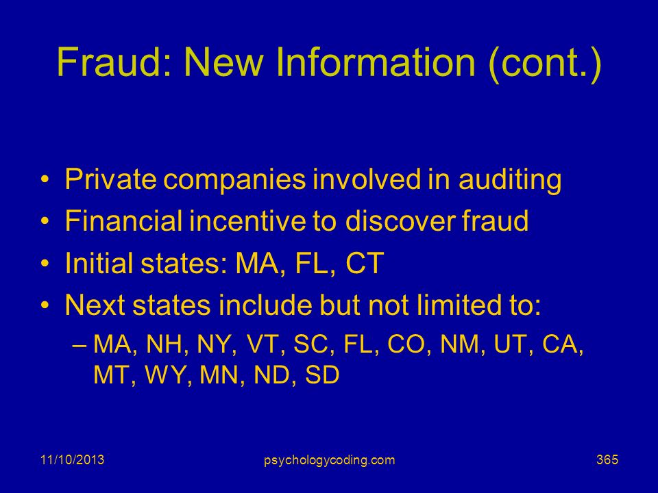 Fraud: New Information (cont.)