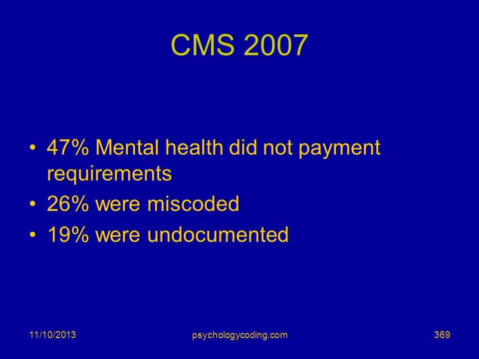 CMS 2007 47% Mental health did not payment requirements