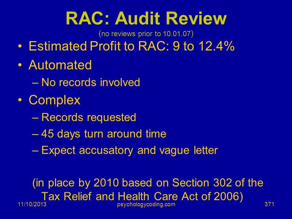 RAC: Audit Review (no reviews prior to )