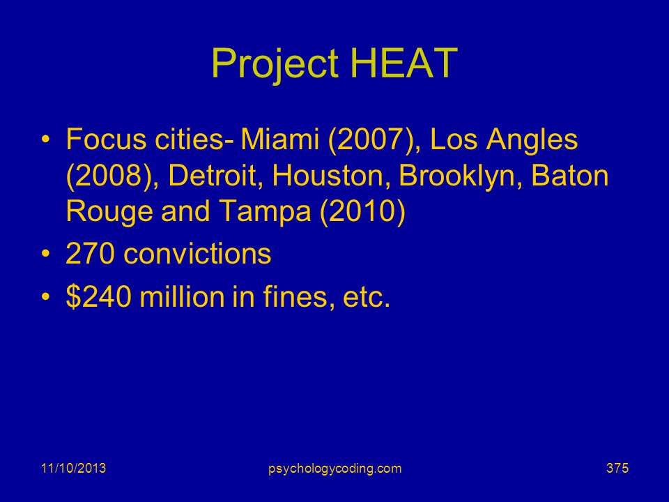 Project HEAT Focus cities- Miami (2007), Los Angles (2008), Detroit, Houston, Brooklyn, Baton Rouge and Tampa (2010)