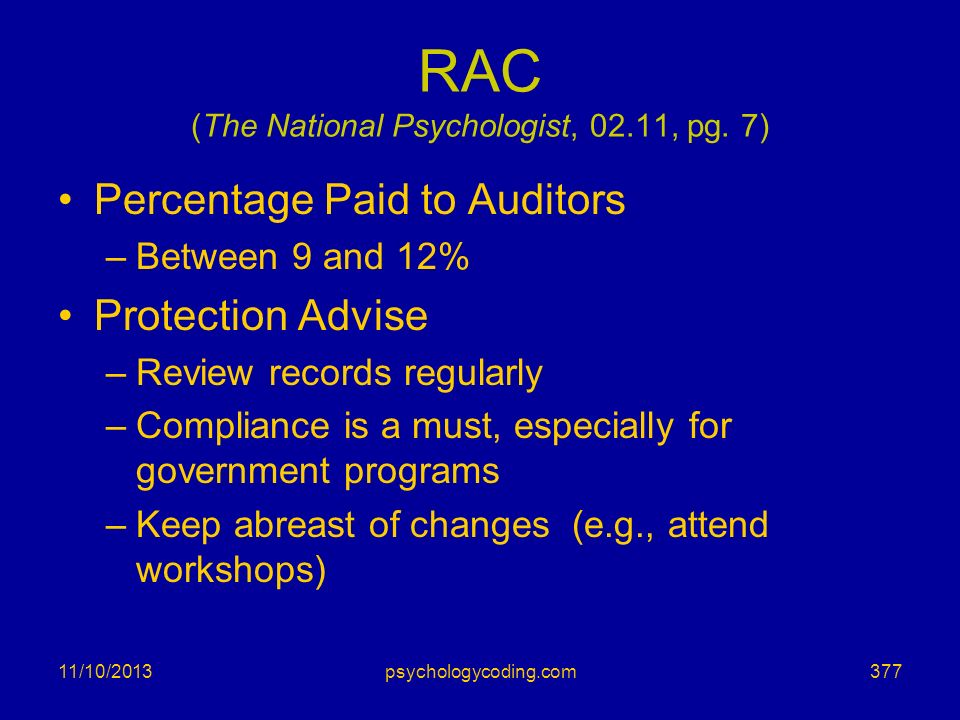 RAC (The National Psychologist, 02.11, pg. 7)