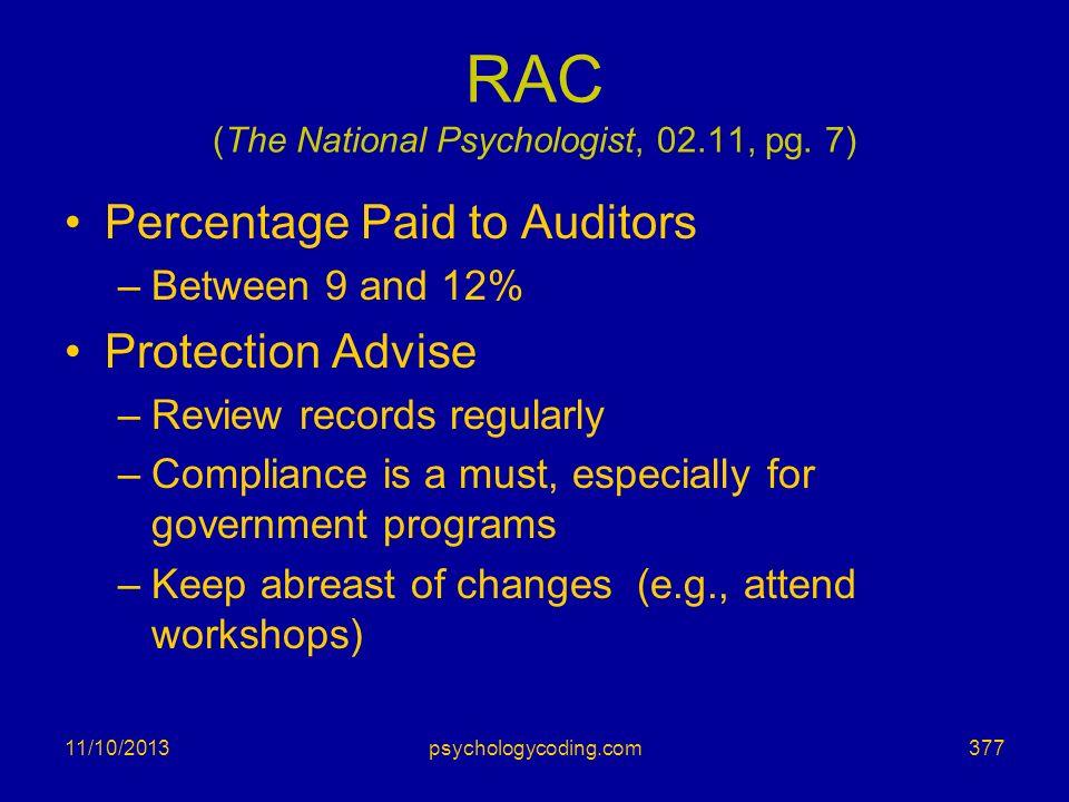 RAC (The National Psychologist, 02.11, pg. 7)