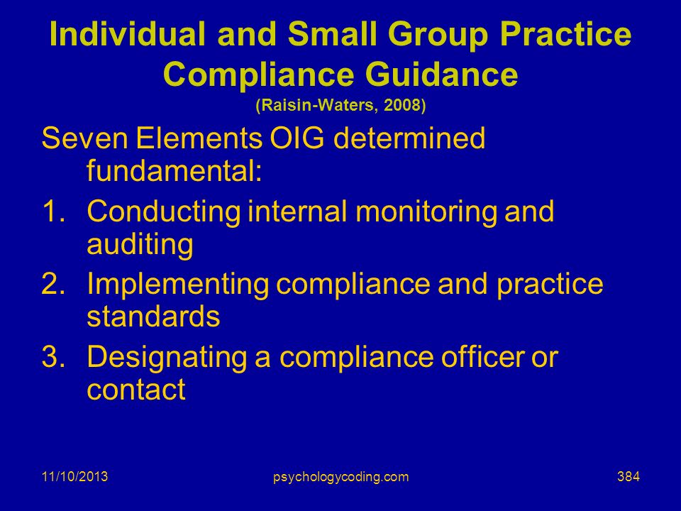 Individual and Small Group Practice Compliance Guidance (Raisin-Waters, 2008)