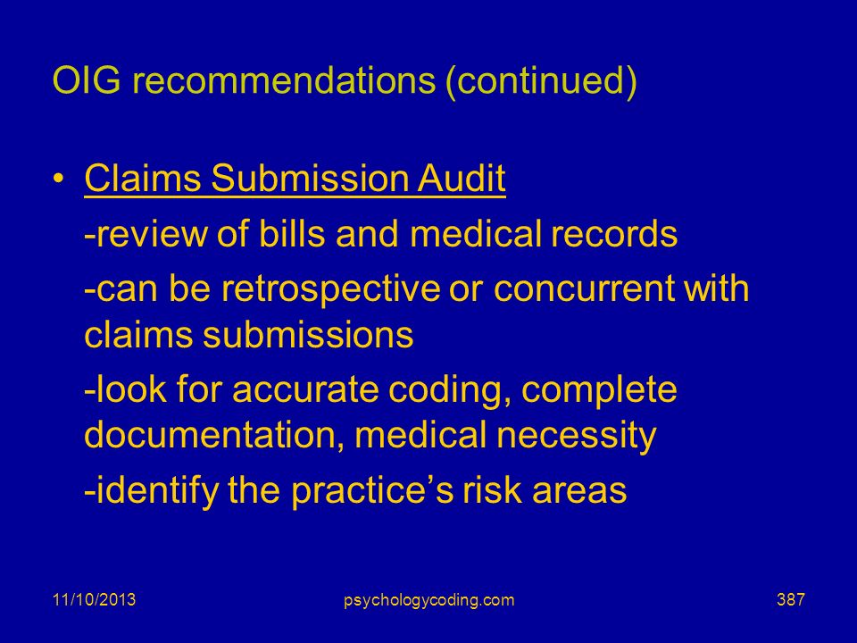 OIG recommendations (continued)