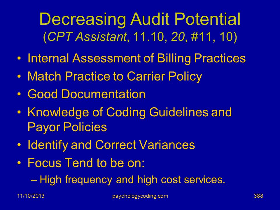 Decreasing Audit Potential (CPT Assistant, 11.10, 20, #11, 10)