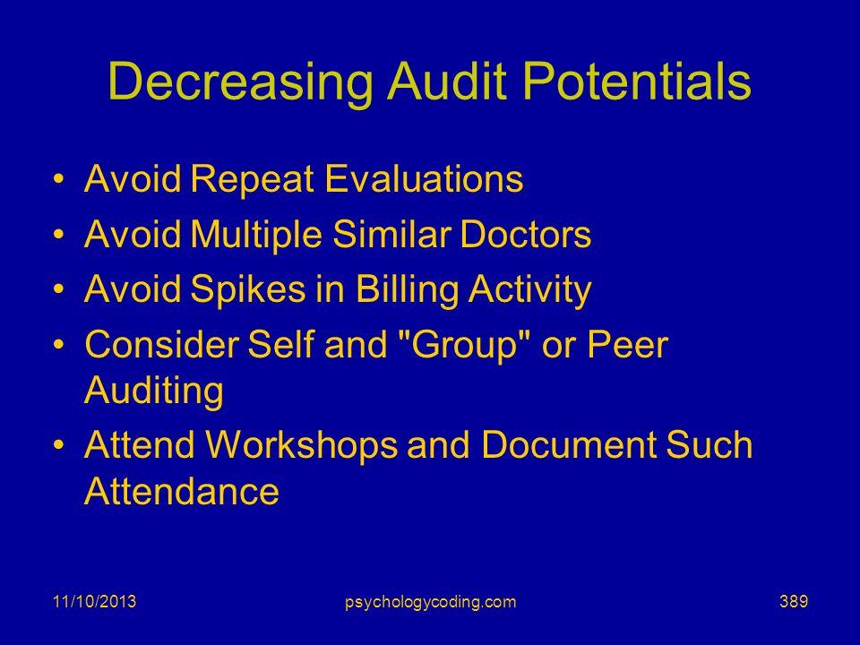 Decreasing Audit Potentials