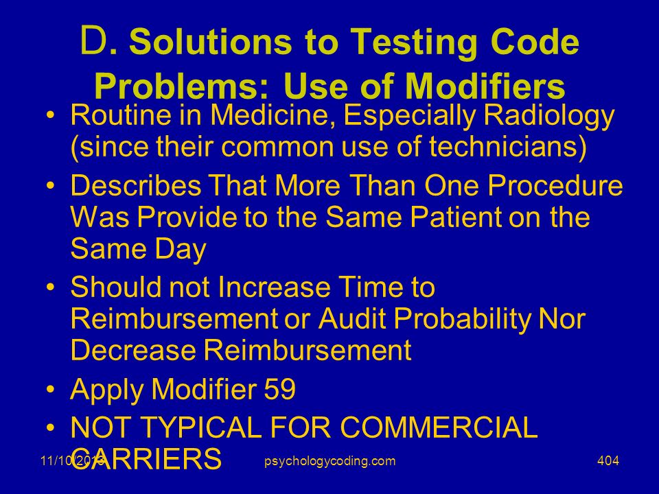 D. Solutions to Testing Code Problems: Use of Modifiers