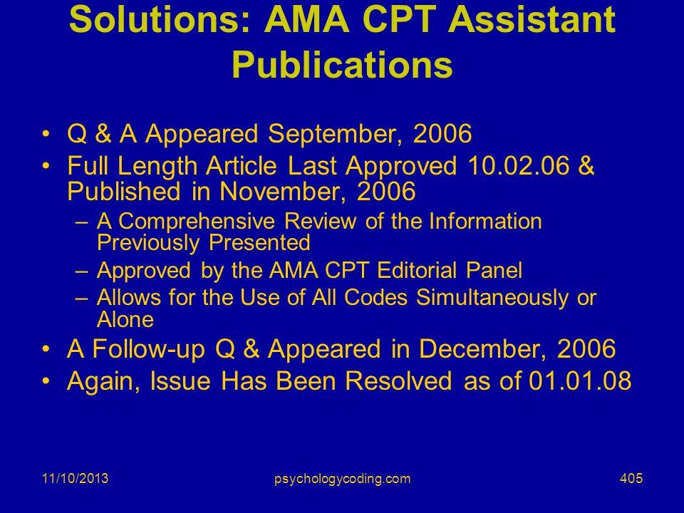 Solutions: AMA CPT Assistant Publications