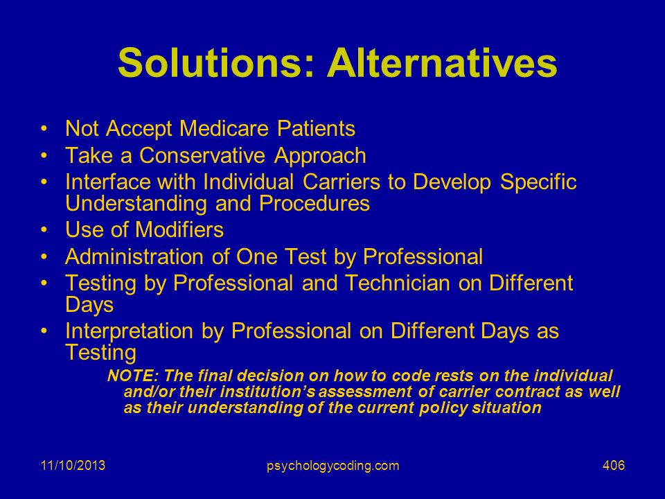 Solutions: Alternatives