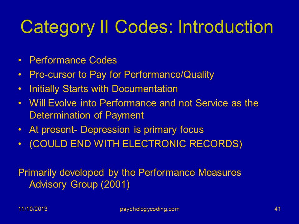 Category II Codes: Introduction