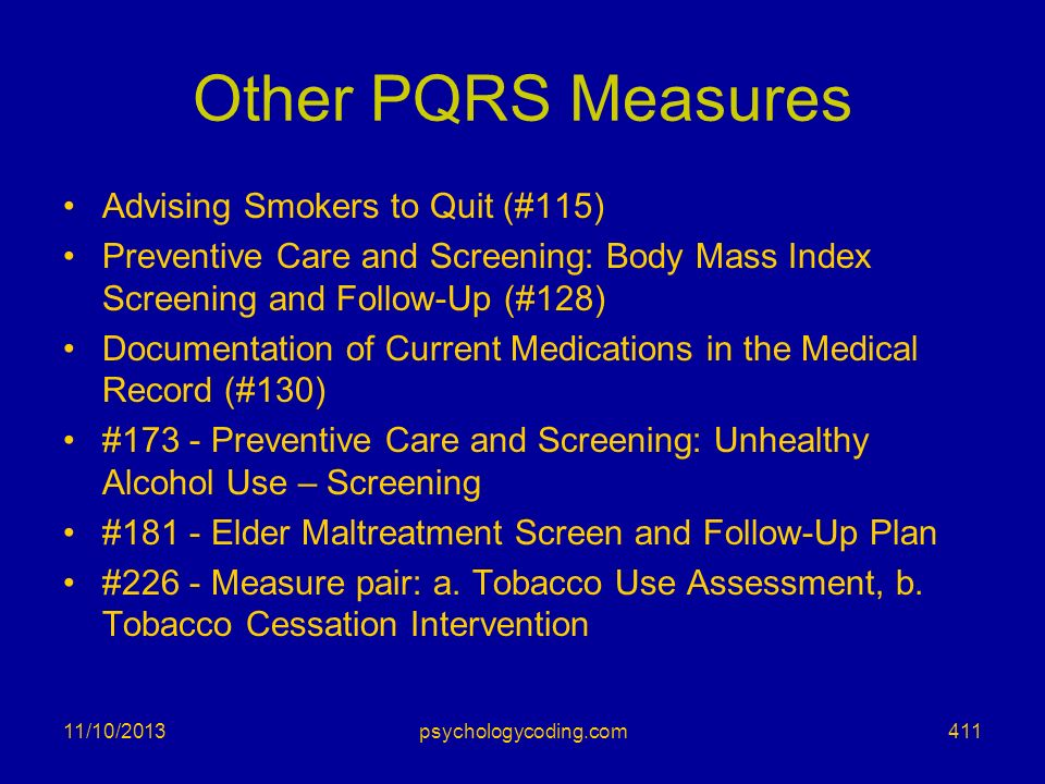 Other PQRS Measures Advising Smokers to Quit (#115)