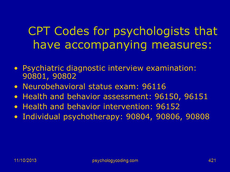 CPT Codes for psychologists that have accompanying measures: